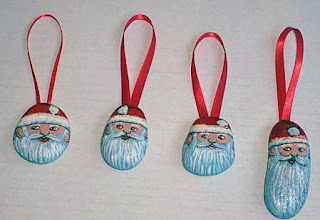 Santa, Christmas, ornaments, painted rocks