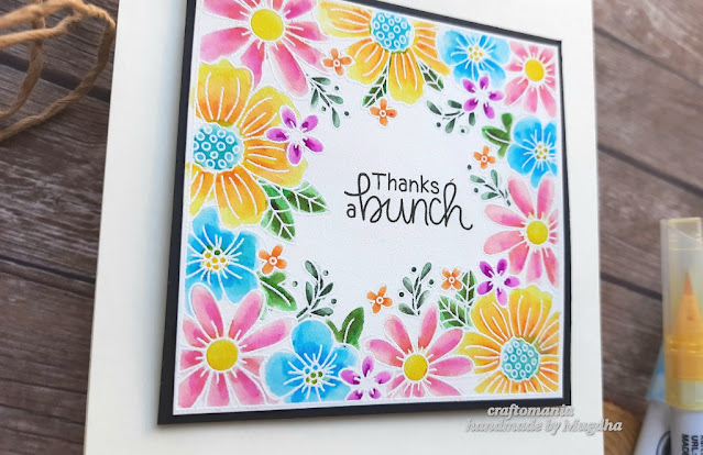 Floral Thank You Card by April Guest Designer Mugdha Gujarathi | Floral Fringe Stamp Set by Newton's Nook Designs #newtonsnook