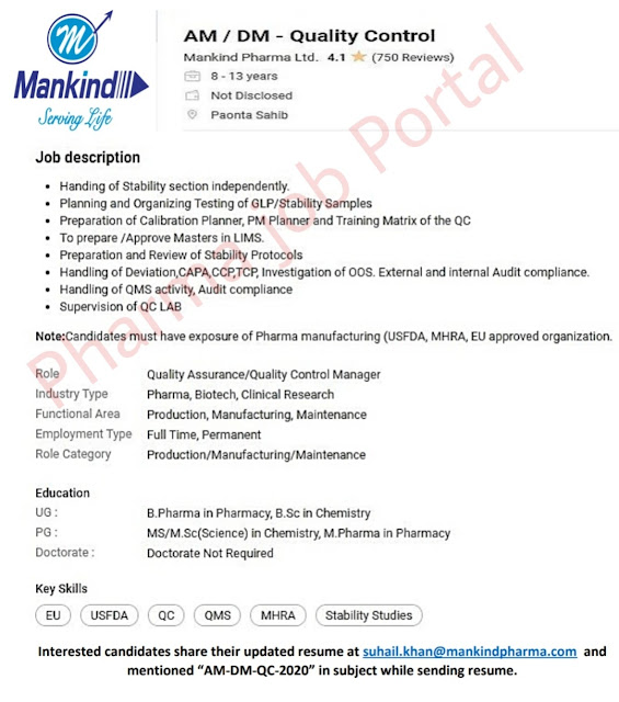 Mankind Pharma Recruitment 2020职业职位