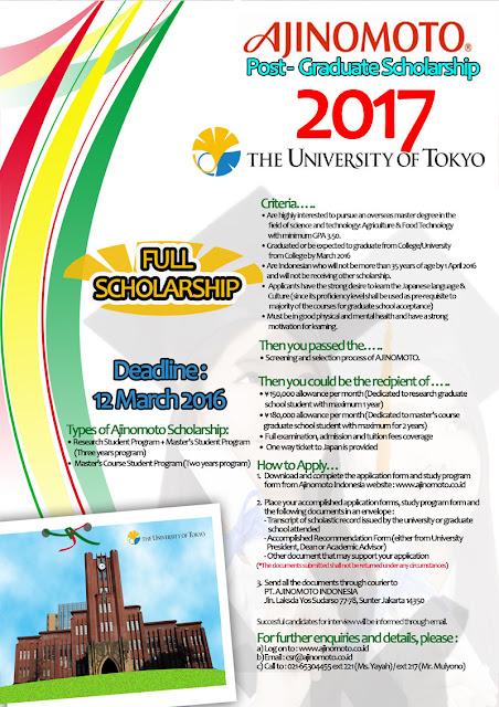 Beasiswa AJINOMOTO 2016 – 2017