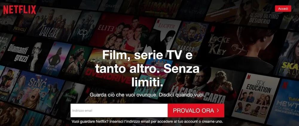 schermata italiana sito netflix.it senza prova gratis