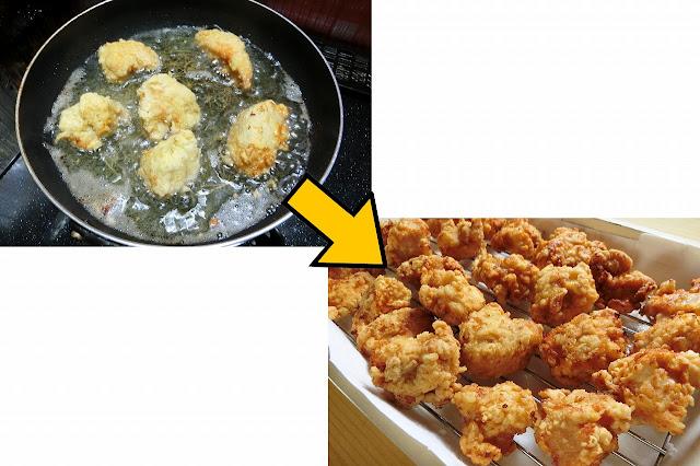 今度は強火にして再び鶏肉を戻し入れ、20秒~30秒間火を通して表面をカリッと仕上げて取り出し、軽く油をきります。