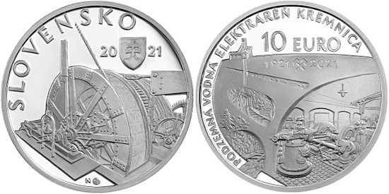 Slovakia 10 euro 2021 - Underground hydroelectric power plant in Kremnica