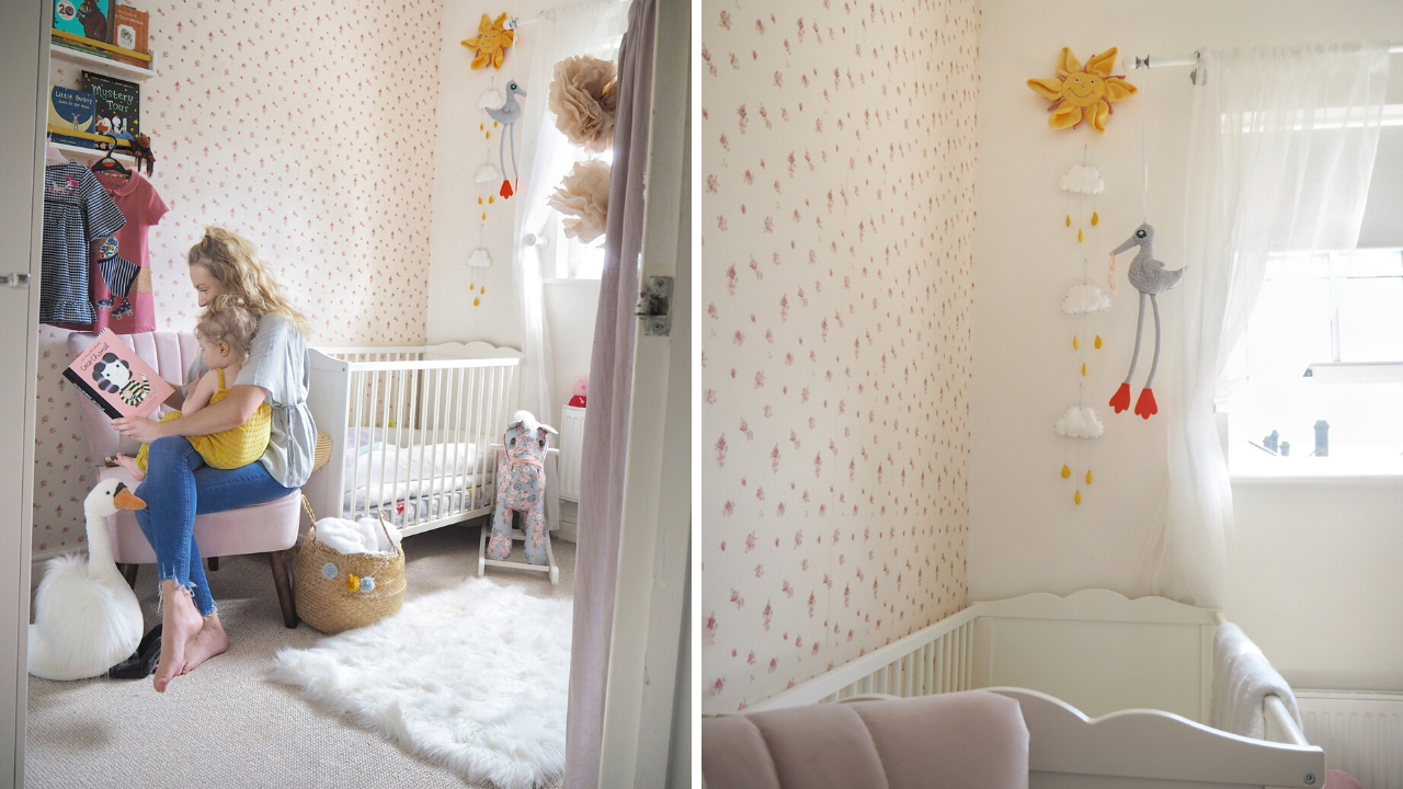 Child friendly nursery layout ideas and styling tips. How to design and style a child's bedroom or nursery that will look good, and be practical for your kid. How to choose what to spend money on, and what to budget, how to tackle storage, and what blinds to choose. Practical nursery design tips to create a bedroom your child will love. Featuring a pink and yellow girls nursery complete with Ikea nursery furniture, and a traditional but modern nursery design.