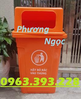 Thùng rác công cộng 90L, thùng rác 90L nắp hở, thùng rác nhựa HDPE 90L nắp hở