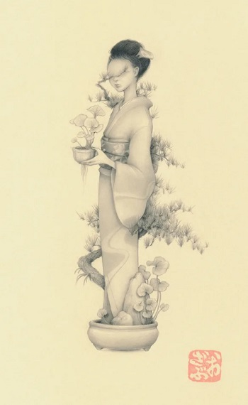 by Ozabu, Bonsai Girl 文人 (Bunjin), 2019 | imagenes dibujos de mujeres a lapiz | woman art | girl with flowers