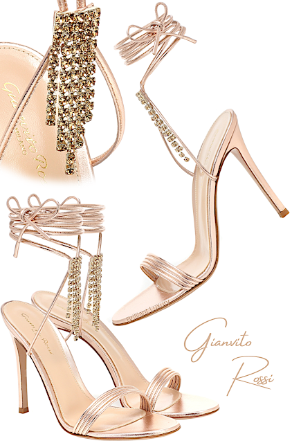 Gianvito Rossi rose gold metallic lamp leather sandals with dazzling crystal trims #brilliantluxury
