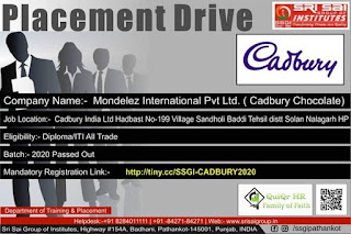 Diploma/ITI All Trade Online Job Campus Placement For Company Mondelez International Pvt Ltd