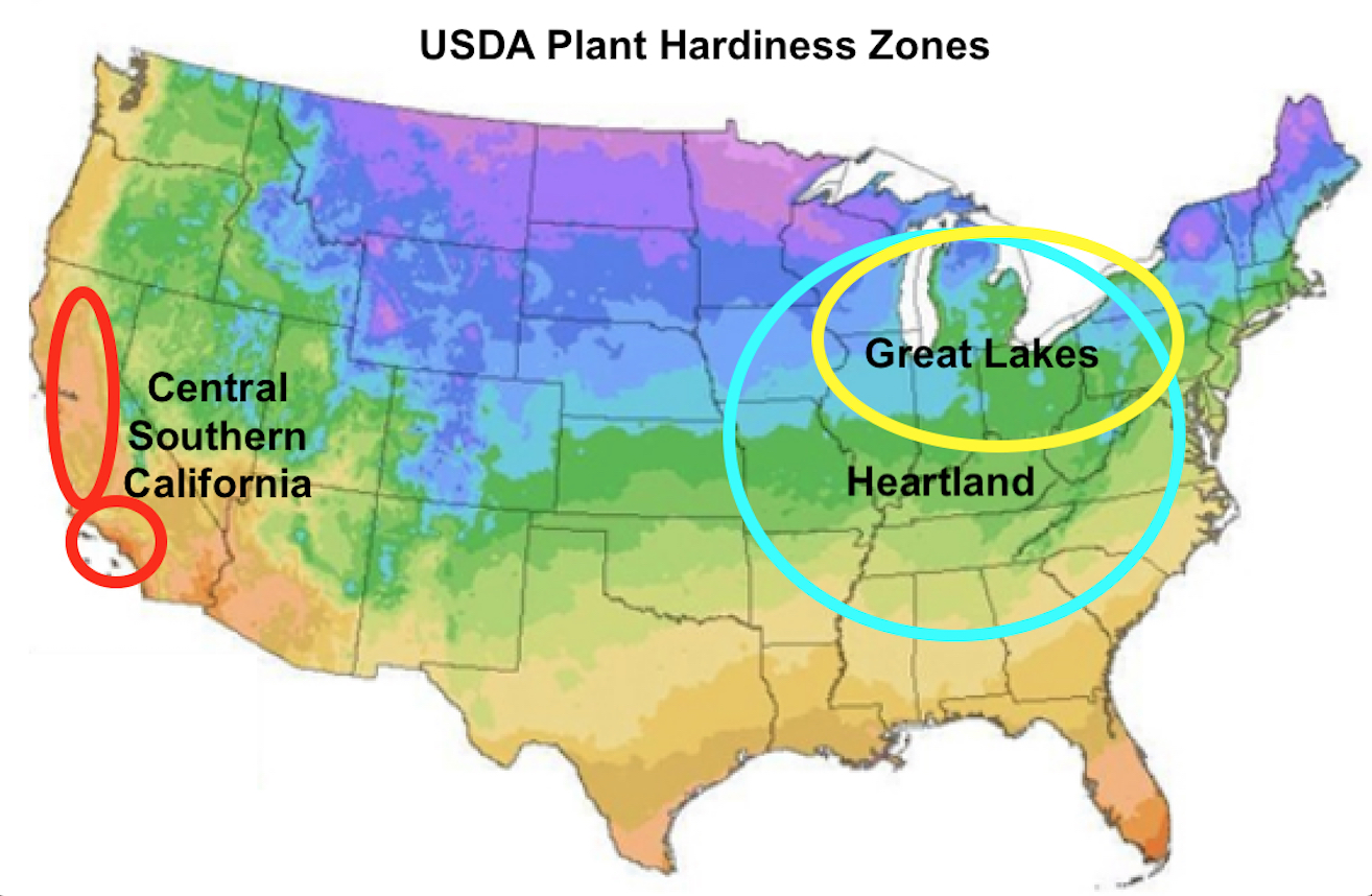 the hardiness zone map of the u s note the much colder climes blue and green of the great lakes and heartland areas where only certain types of seeds