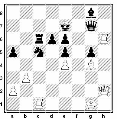 Posición de la partida de ajedrez Xu Jun - Constantin Ionescu (Olimpiada de Tesalónica, 1988)