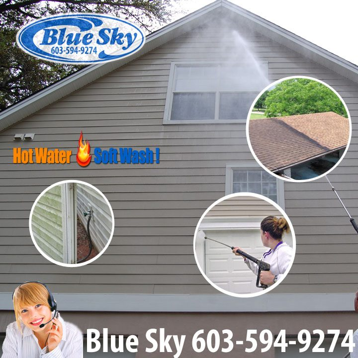 Roof Cleaning in New Hampshire; No to High Pressure Washing Yes to Hot Water Blue Sky Treatment