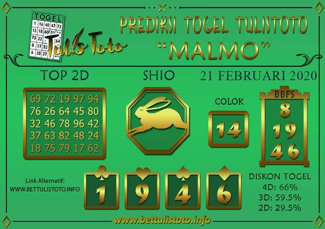 Prediksi Togel MALMO TULISTOTO 21 FEBRUARI 2020