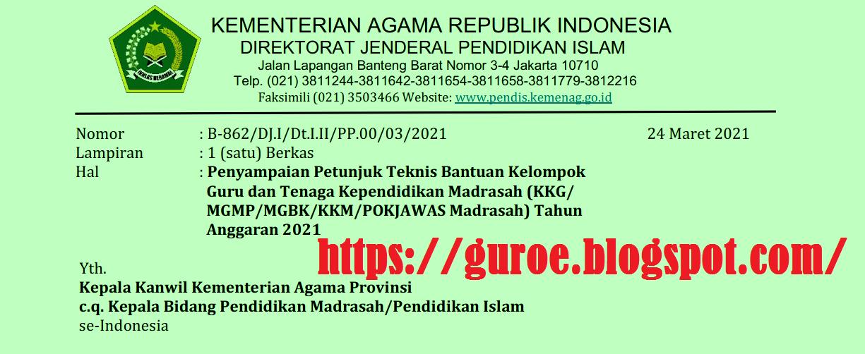 Kepdirjen Pendis Nomor 606 Tahun 2021 tentang Juknis Bantuan KKG MGMP MGBK KKM POKJAWAS Madrasah Tahun Anggaran 2021