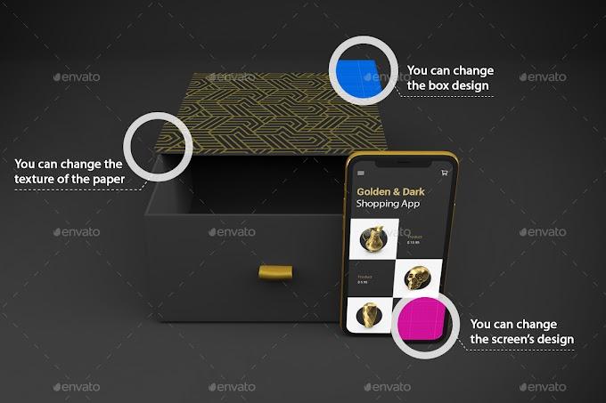 Gold & Dark Shopping App V.1 Mockup[Photoshop][28759713]