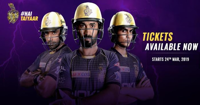 VIVO IPL 2019 Kolkata Knight Riders (KKR) Ticket Booking : Price and Cost