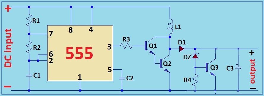 6V to 12V dc-dc boost converter using 555 timer IC ...