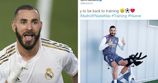 Benzema all smiles with message to the fans on Twitter 'Happy to be back' as Madrid kick off pre-season training