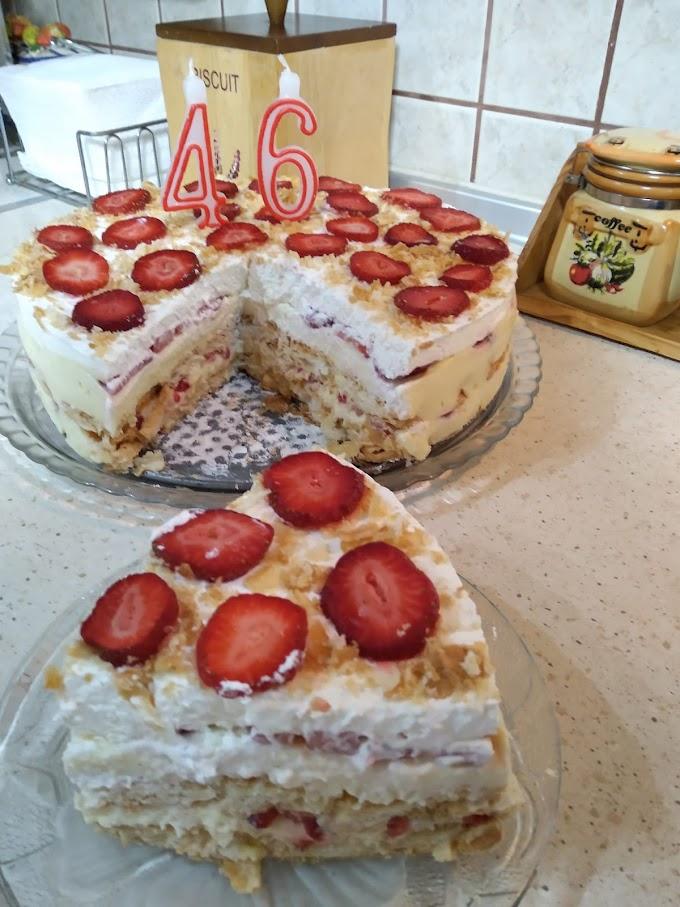 Τούρτα μιλφέιγ φράουλα