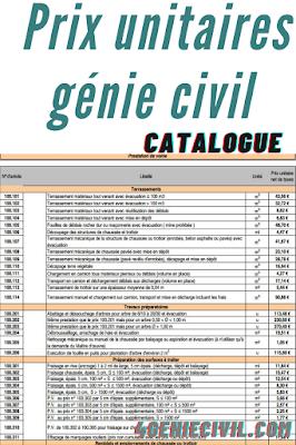 Catalogue de prix unitaire génie civil