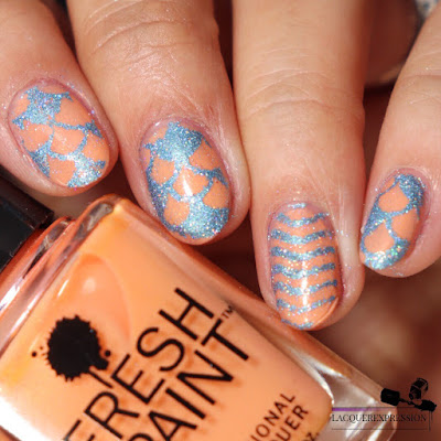 pigment and glitter stamping nail art technique using light blue microglitter from Moonflower Polish