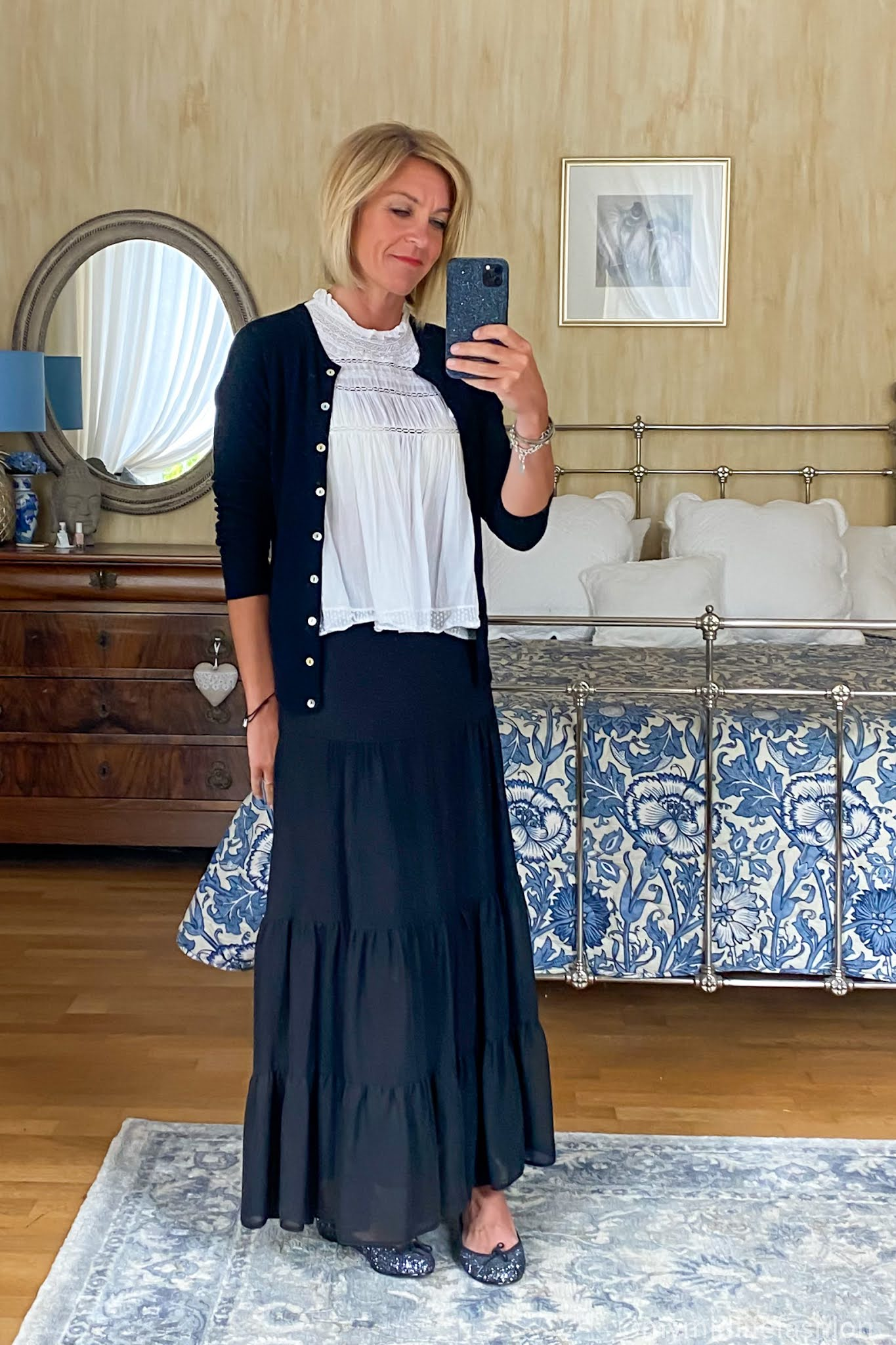 my midlife fashion, pink avocet crew neck cardigan, Isabel Marant lace sleeveless blouse, marks and Spencer tiered maxi skirt, French sole Henrietta glitter ballet pumps