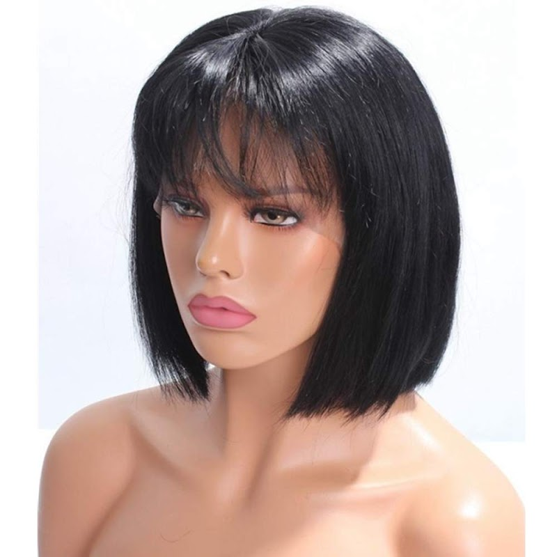 50% OFF Short Bob Wigs With Air Bangs Human Hair 8 10 or 12 inch