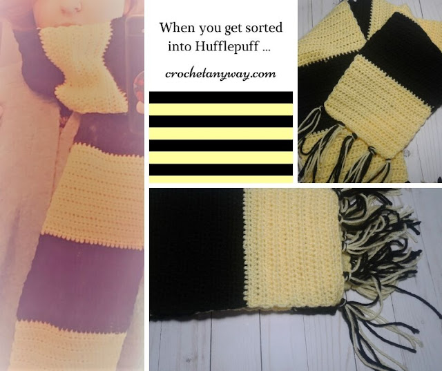 crochet yellow and black scarf single crochet and half double crochet