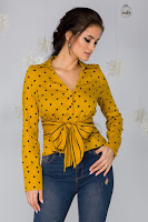 Camasa Iulia galben mustar cu buline negre