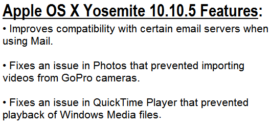 Mac OS X Yosemite 10.10.5 Features