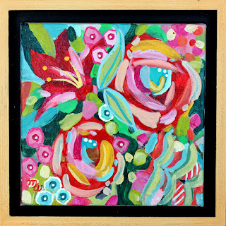 Flower painting by artist Merrill Weber original acrylic on canvas 6 x 6  framed Celebration 110