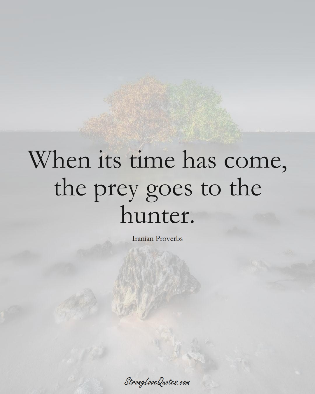 When its time has come, the prey goes to the hunter. (Iranian Sayings);  #MiddleEasternSayings