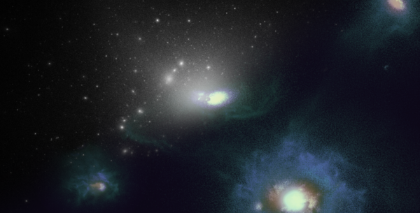 Visualization of the simulations used in the study. Top left shows dark matter in white. Bottom right shows a simulated Large Magellanic Cloud-like galaxy with stars and gas, and several smaller companion galaxies. (UCR/Ethan Jahn)