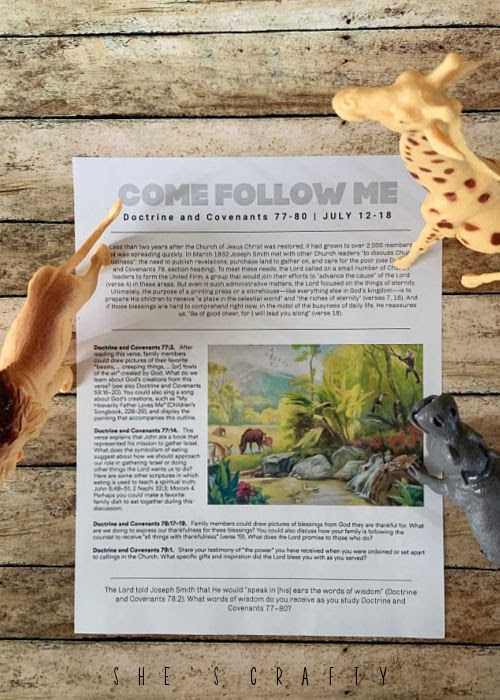 Come Follow Me free printable with Doctrine and Covenants.
