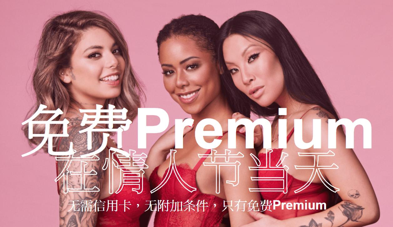 【Pornhub】情人節當日,Premium限時免費