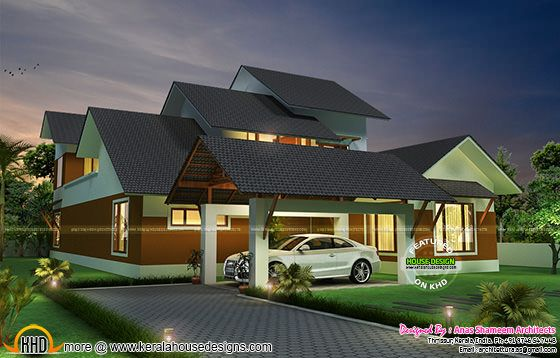 Step cut sloping roof villa