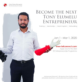 Postulez pour le programme d'entrepreneuriat de la Fondation Tony Elumelu 2020