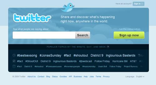 Tampilan Twitter di Tahun 2009