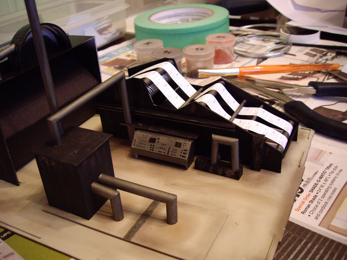 Scratch built printing press made of styrene for interior scene of a Northern Light & Power kit