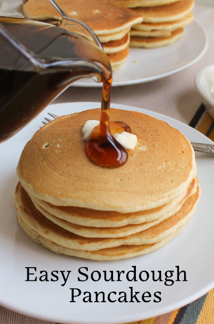 Food Lust People Love: These easy sourdough pancakes use sourdough discard to add lots of flavor and baking powder and soda for rise so they can be cooked immediately. Serve with lashings of butter and syrup!