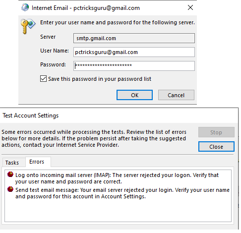 Outlook keeps asking for Gmail password : Easy Fix