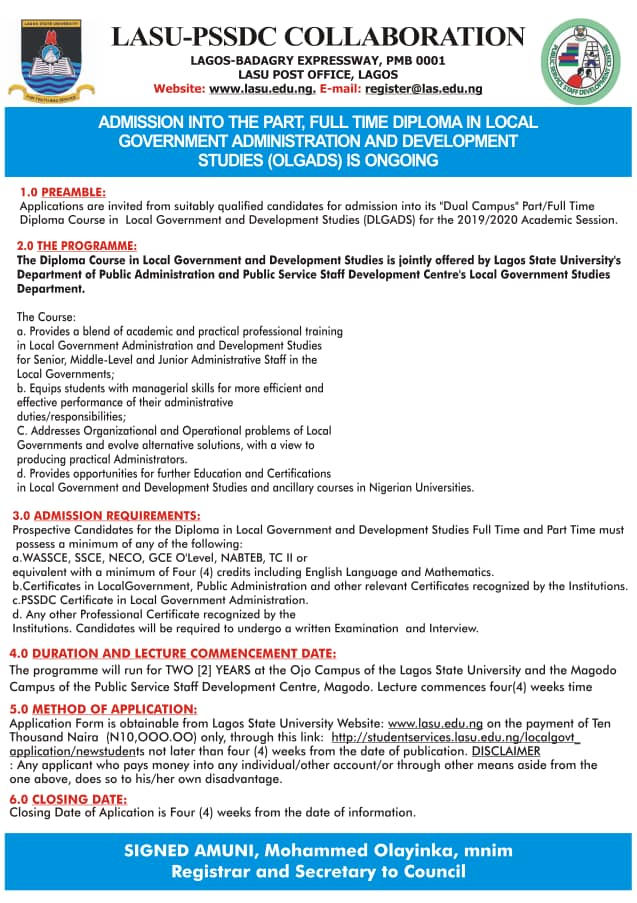 LASU Diploma in LG Administration Form 2019/2020 | Full & Part-Time
