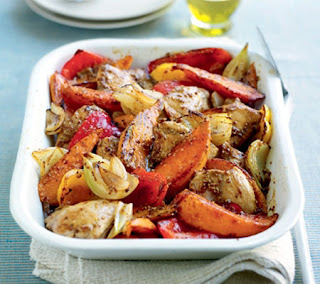 cinnamon mustard chicken with sweet potatoes and peppers recipe