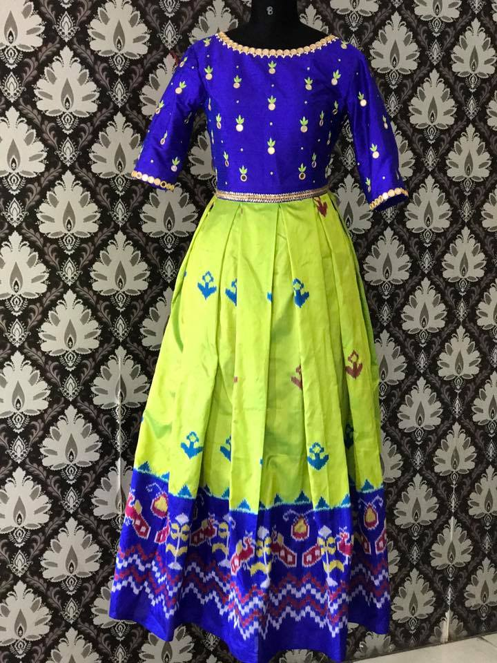 Neon Green Ikkat Lehenga Indian Dresses