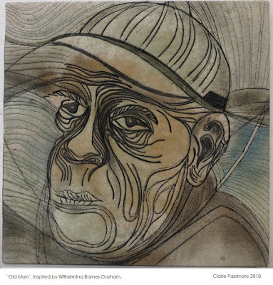 """'Old Man' 16"""" x 16"""" Stitched monoprint on fabric by Claire Passmore"""