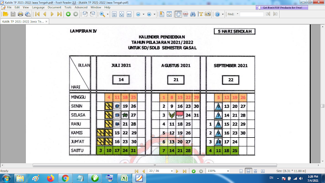 Download Kalender Pendidikan Madrasah Tahun Pelajaran 2021/2022 Format Pdf Jawa Tengah