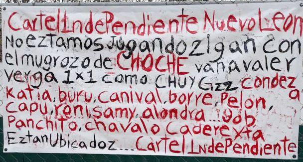 """Nace nuevo """"Cártel Independiente de Nuevo Léon""""  y revela su existencia en narcomanta"""