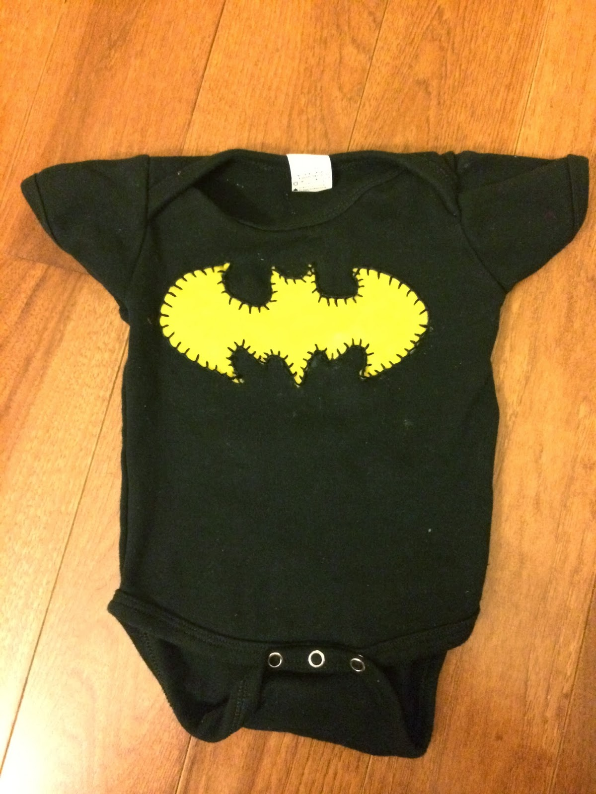 Handmade Batman onesie for baby boy - felt applique