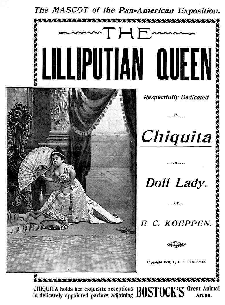 1901 singer and dancer Lilliputian Queen Chiquita, a poster photograph