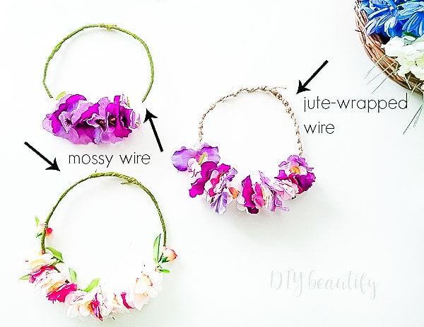 completed DIY flower crowns