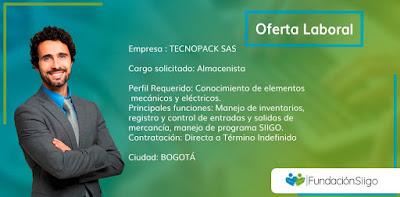 Oferta de Trabajo en Bogota como almacenista